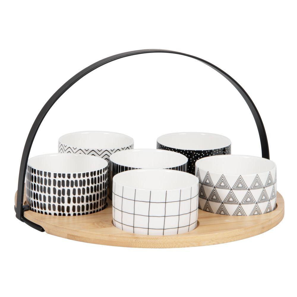 Coupelles apéritives en porcelaine noire et blanche (x6) et plateau en bambou