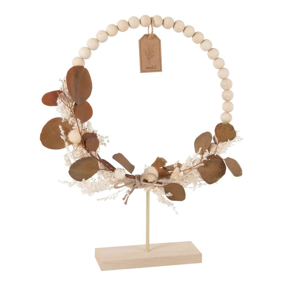 Couronne de perles en pin avec fleurs blanches et feuilles