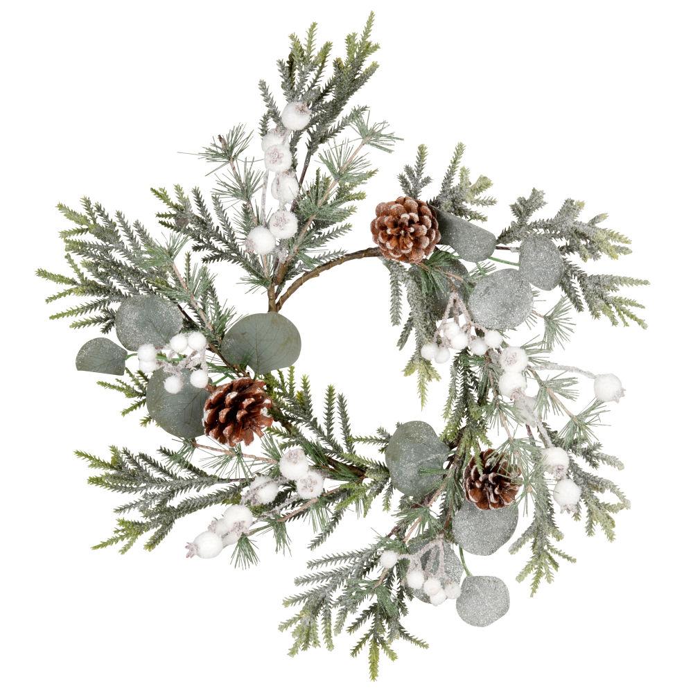 Couronne feuilles vertes, pommes de pin et petites boules blanches