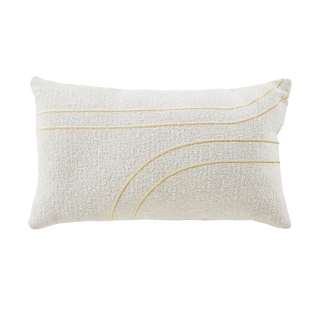 Coussin blanc et lignes brodées dorées 30x50