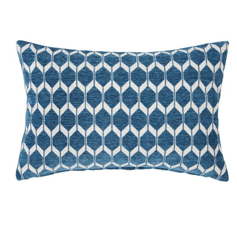 Coussin bleu canard motifs graphiques 40x60
