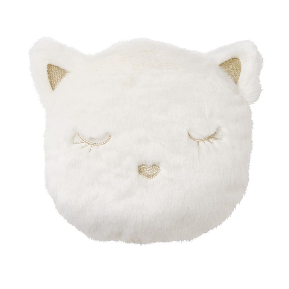 Coussin chat imitation fourrure blanche brodé doré 30x30