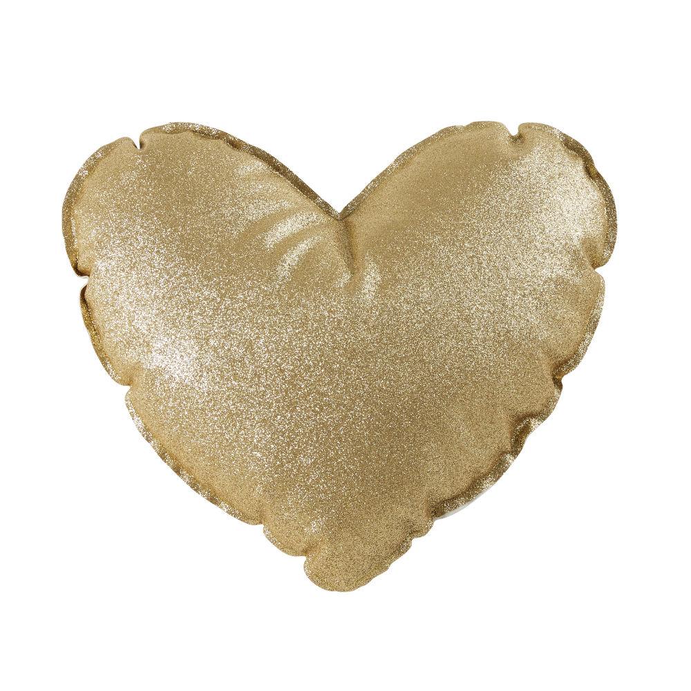 Coussin cœur à paillettes dorées 30x30