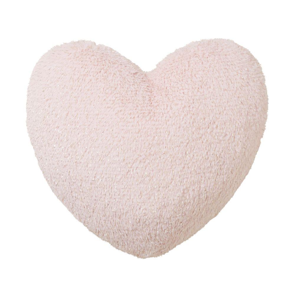 Coussin cœur imitation fourrure rose 35x35