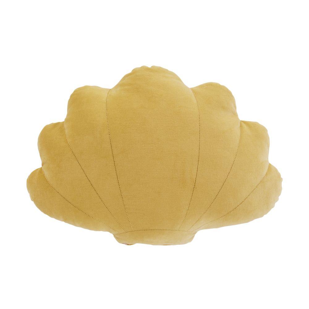 Coussin coquillage en velours de coton jaune et beige brodé et imprimé 40x30
