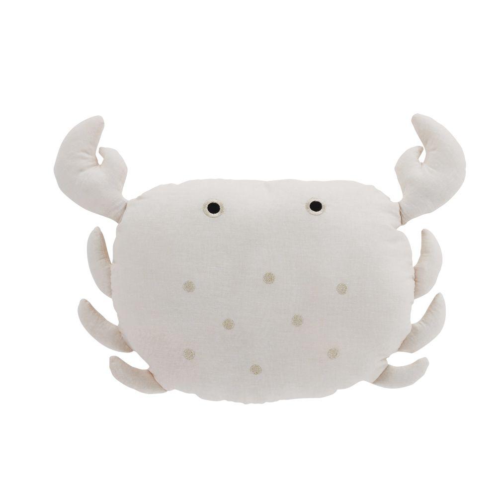 Coussin crabe en lin et coton roses broderie dorée 45x35