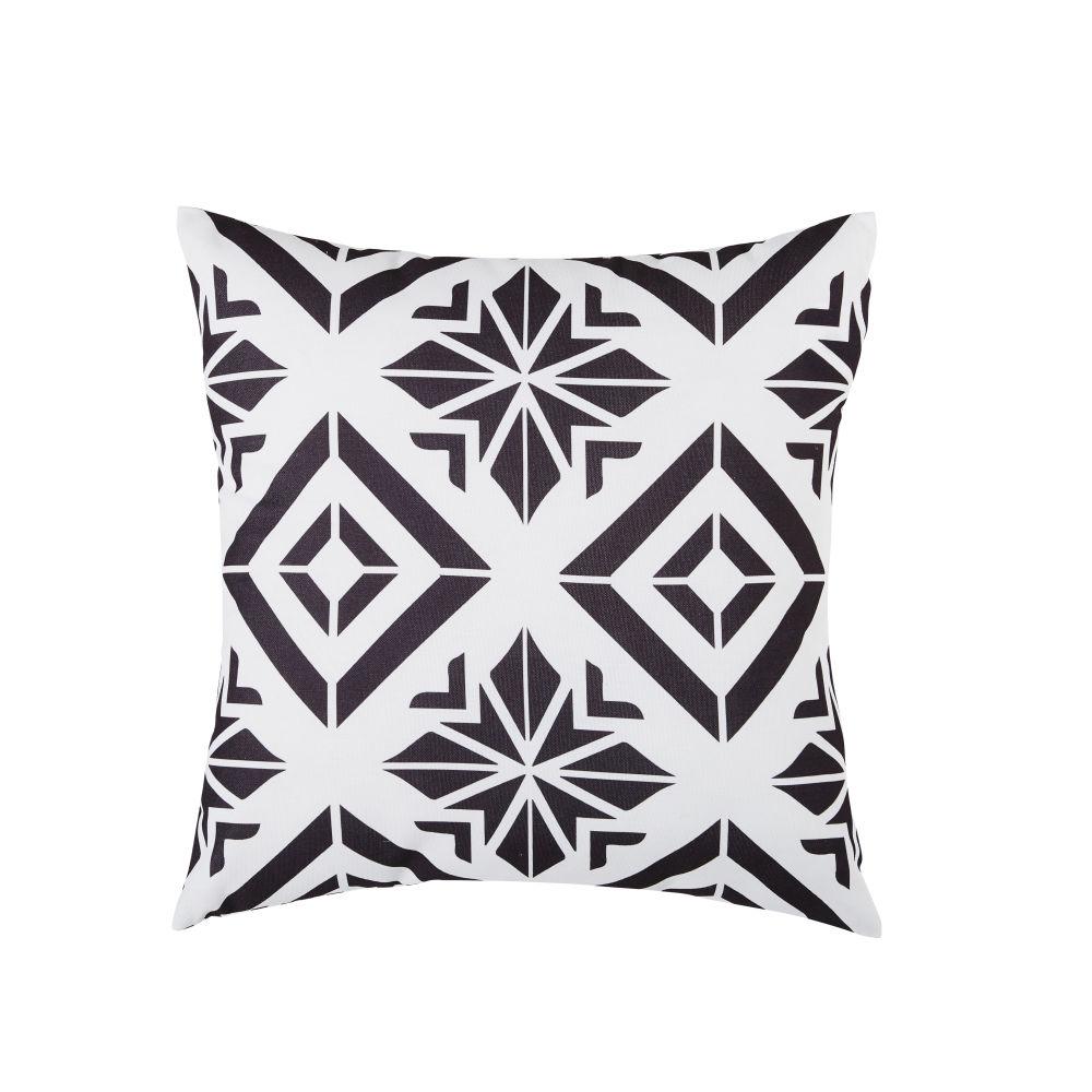 Coussin d'extérieur à motifs graphiques écrus et noirs 45x45
