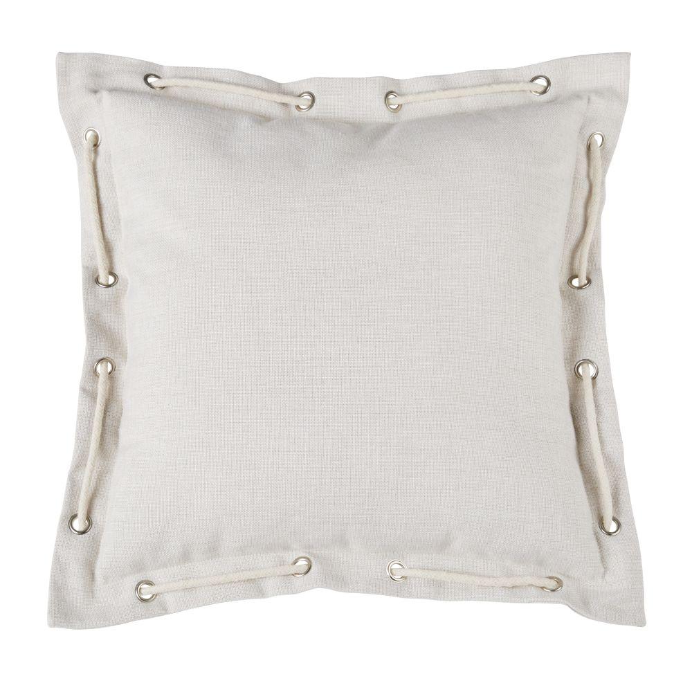 Coussin d'extérieur beige avec cordage 45x45