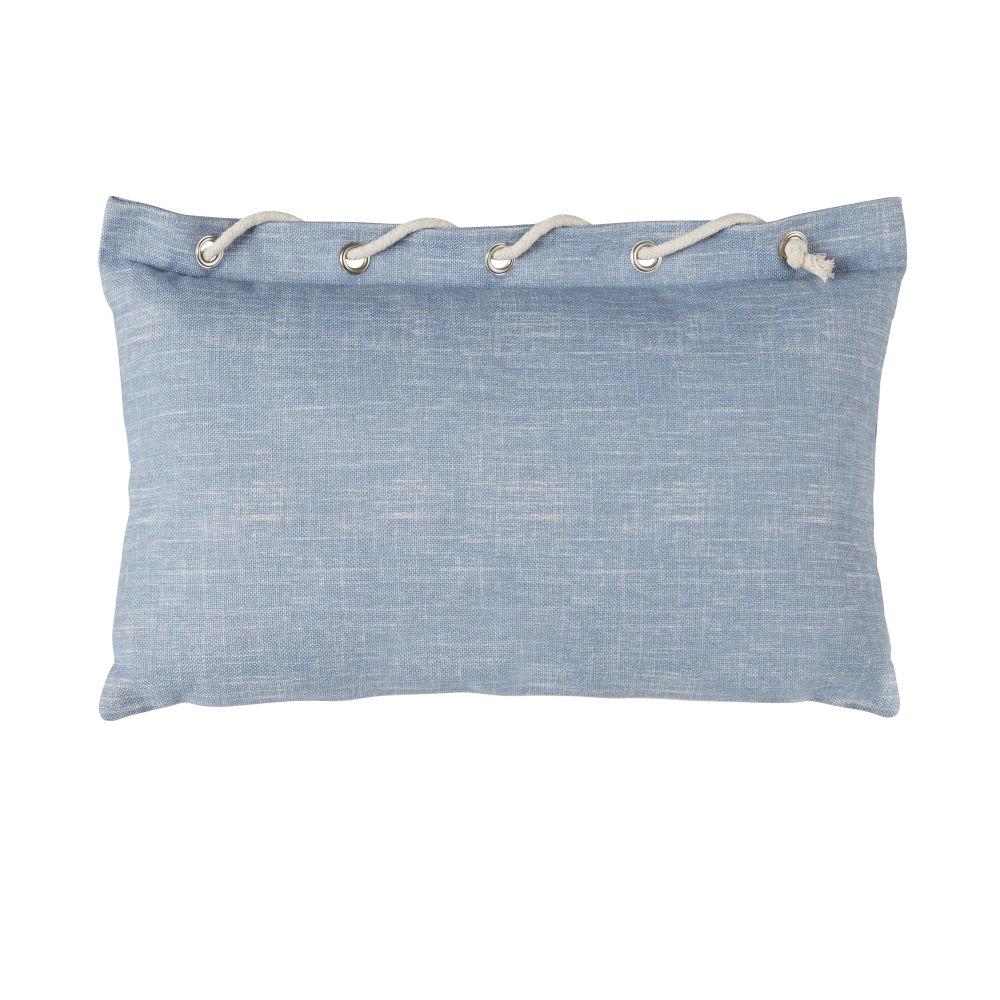 Coussin d'extérieur bleu avec cordage 30x30