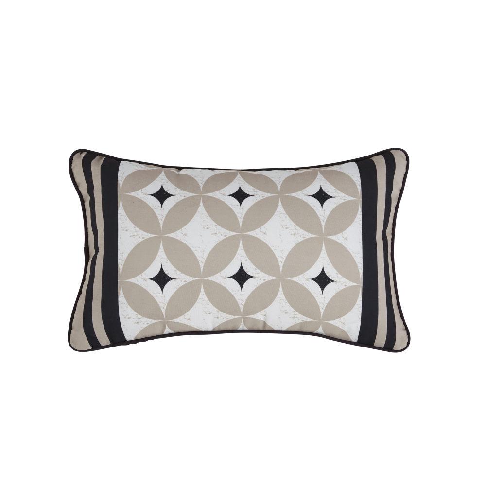 Coussin d'extérieur écru, beige et noir motifs graphiques 30x50