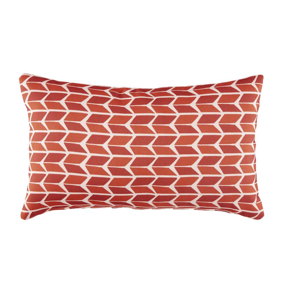 Coussin d'extérieur écru motifs graphiques bicolores 30x50