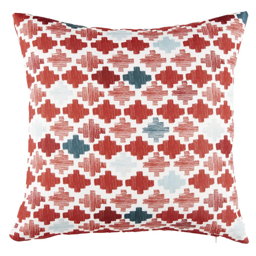 Coussin d'extérieur écru motifs graphiques multicolores 45x45