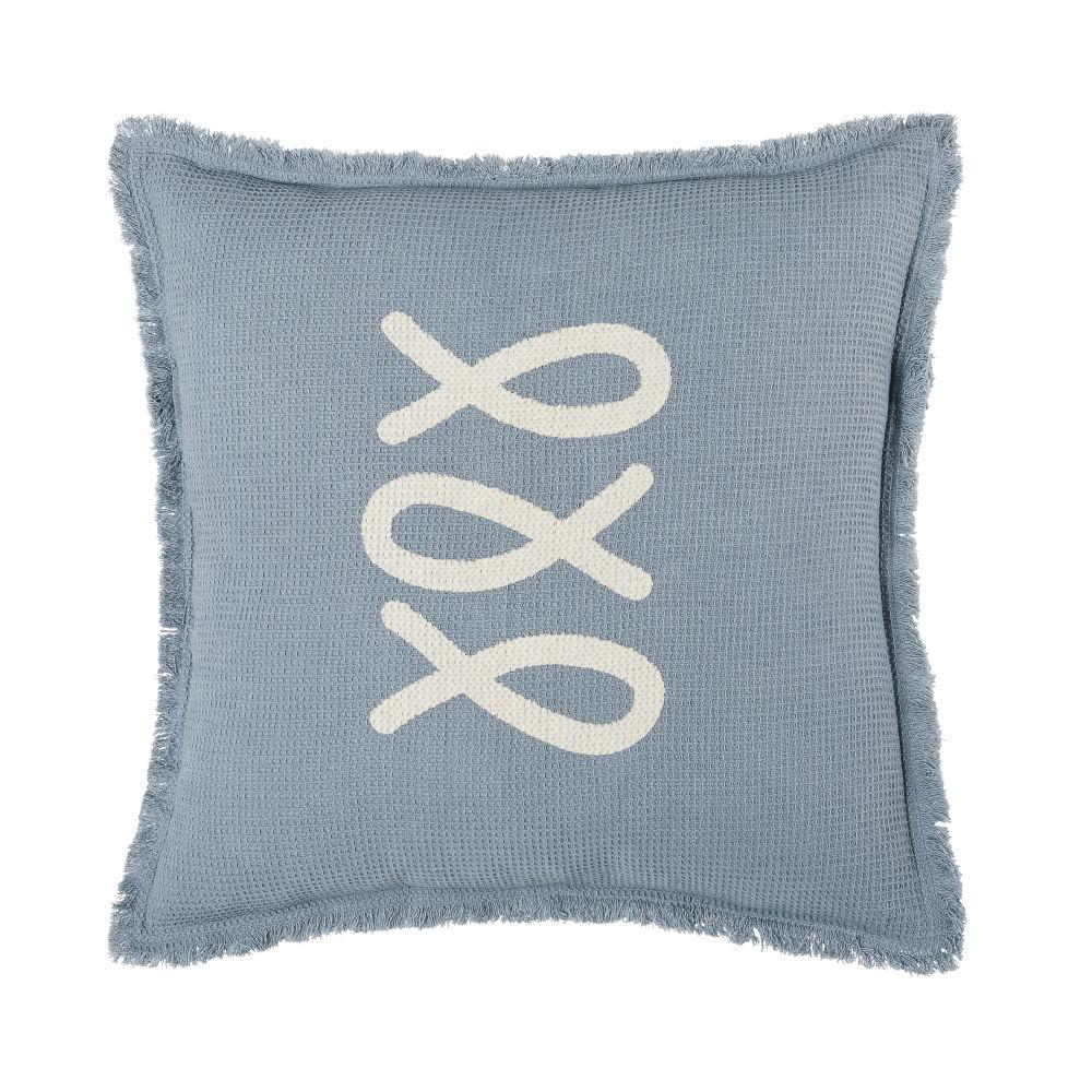 Coussin d'extérieur en coton gaufré bleu et écru à franges 45x45
