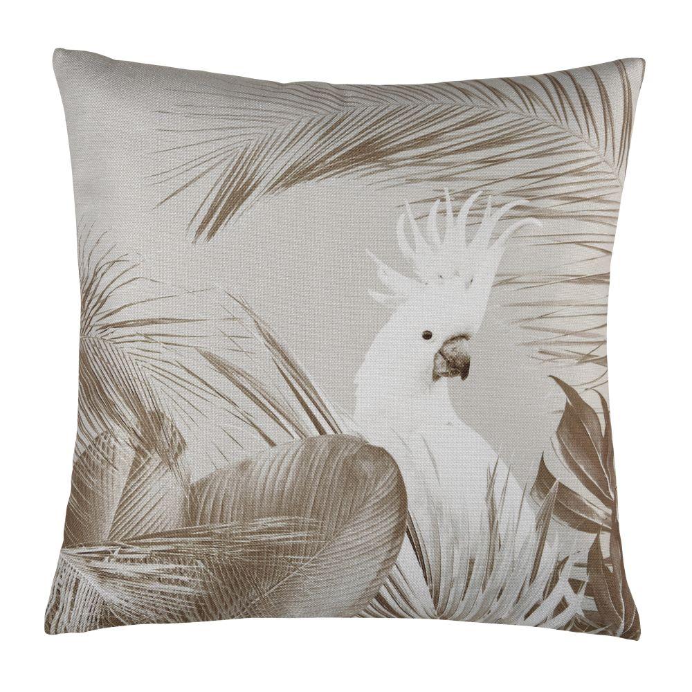 Coussin d'extérieur en polyester beige et blanc imprimé 45x45