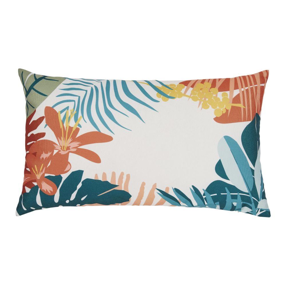 Coussin d'extérieur imprimé tropical multicolore 30x50