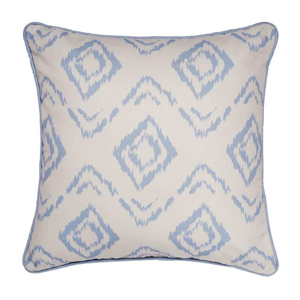 Coussin d'extérieur motifs bleus et écrus 45x45