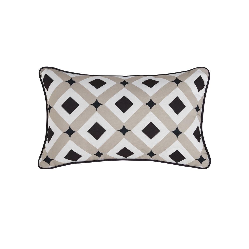 Coussin d'extérieur motifs géométriques taupe, écrus et noirs 30x50