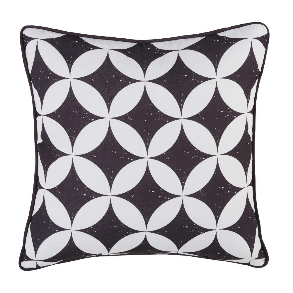 Coussin d'extérieur motifs graphiques noirs et écrus 45x45
