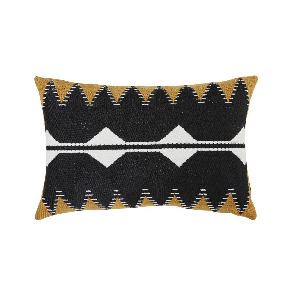 Coussin d'extérieur noir, orange et écru motifs tissés 40x60