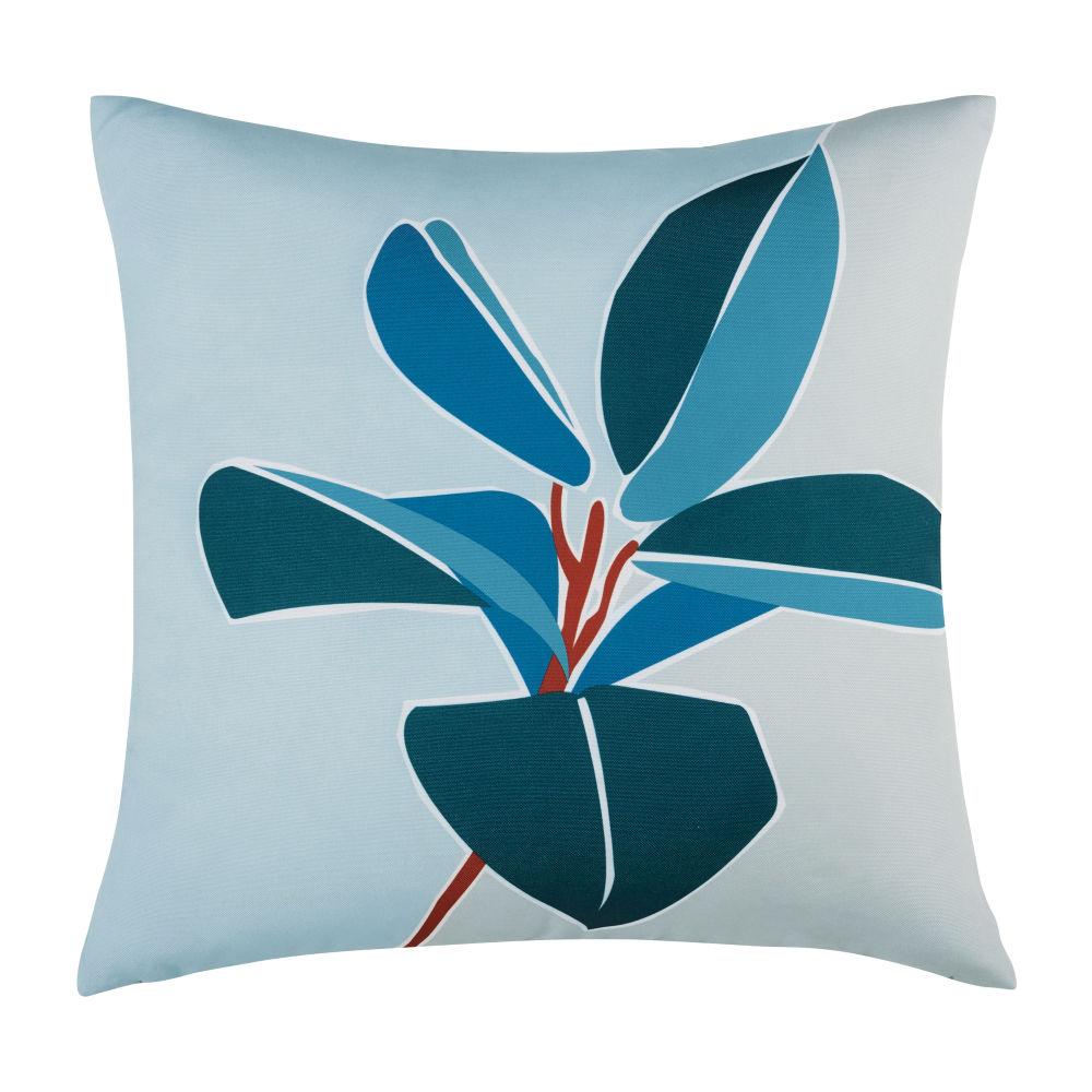Coussin d'extérieur vert et bleu imprimé fleur 45x45