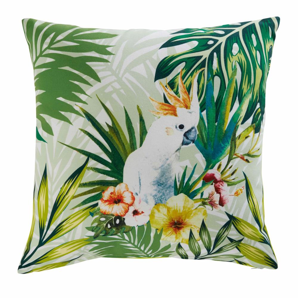Coussin de jardin en tissu imprimé tropical 45x45