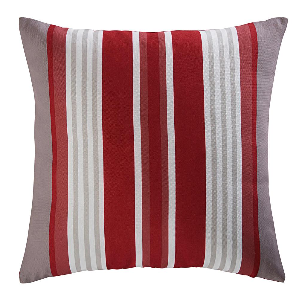 Coussin de jardin en tissu rayé rouge et blanc 45x45