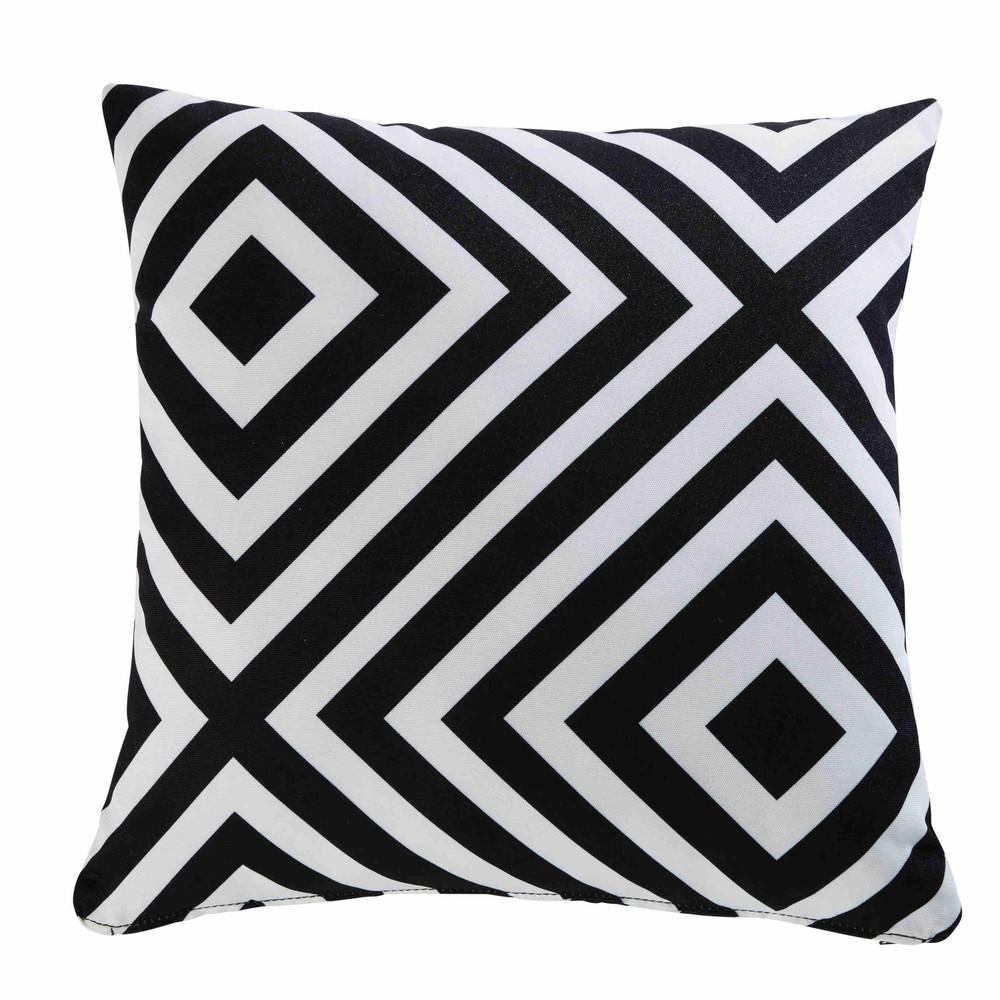Coussin de jardin motifs géométriques noirs et blancs 45x45