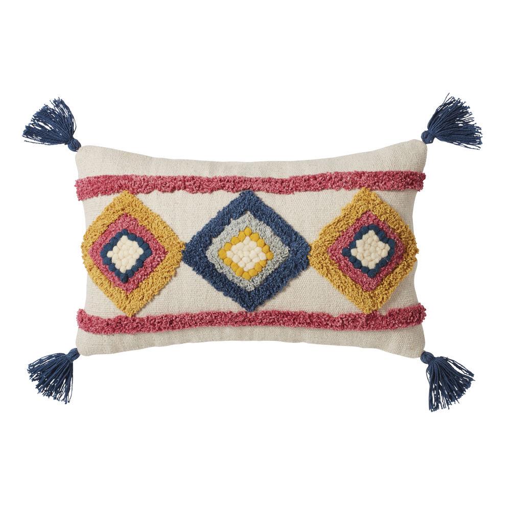 Coussin écru motifs tuftés multicolores à pompons 30x50