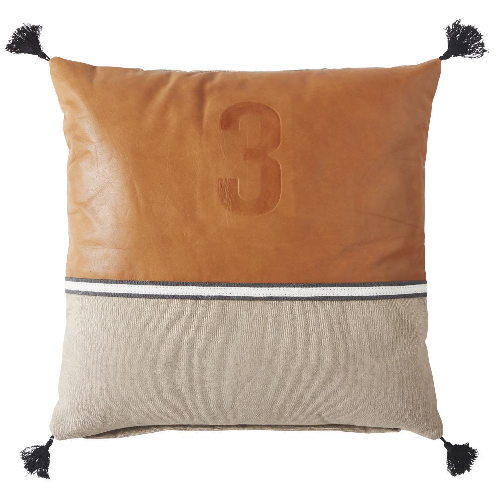 Coussin en coton beige et cuir marron 45x45