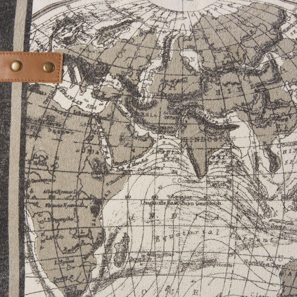 Coussin en coton beige imprimé carte du monde et cuir 45x45