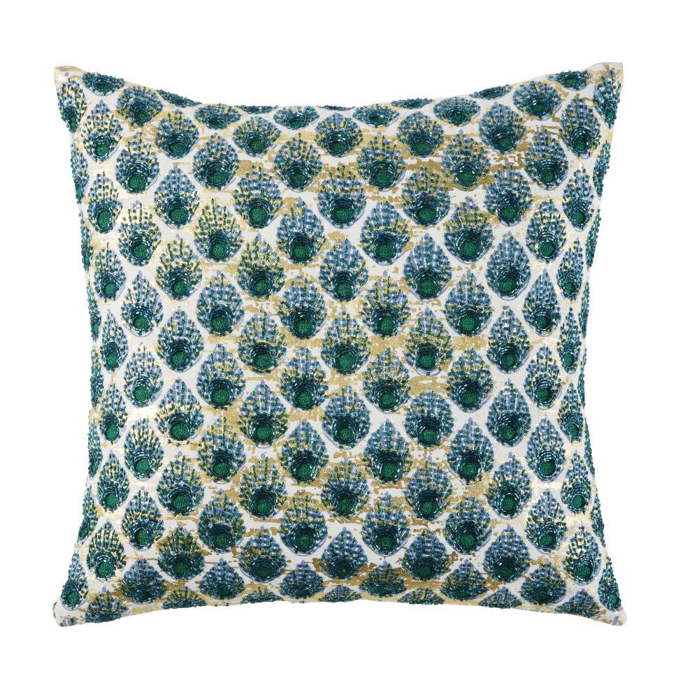Coussin en coton beige motifs graphiques verts et dorés 45x45