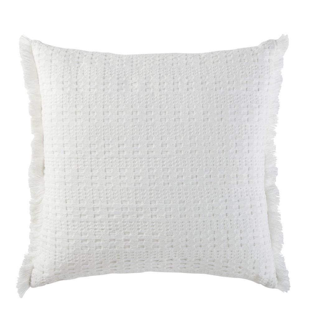 Coussin en coton bio gaufré blanc à franges 45x45