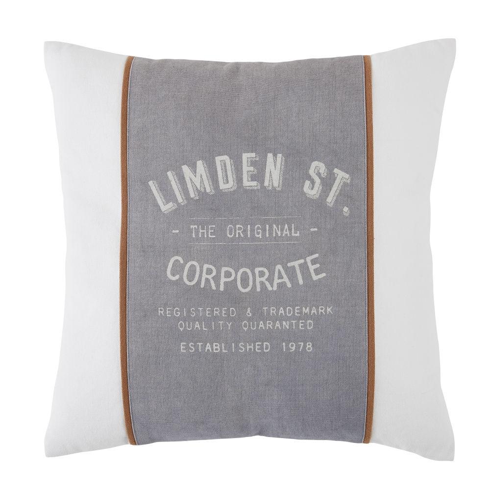 Coussin en coton bio gris, marron, blanc imprimé 45x45