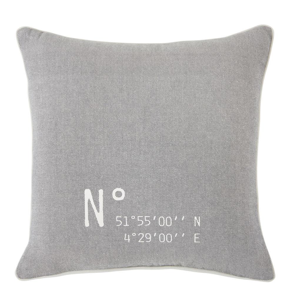 Coussin en coton bio tissé gris chiné 45x45