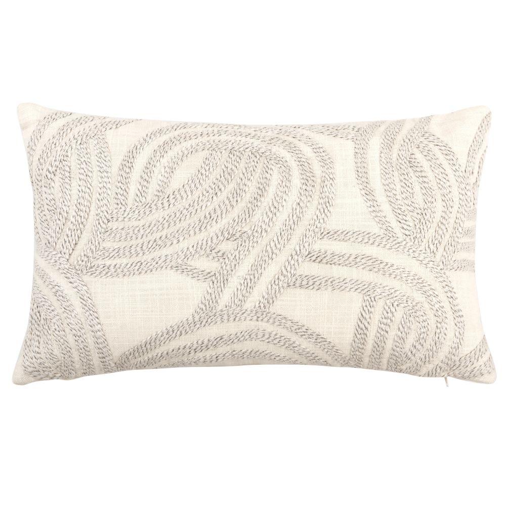Coussin en coton blanc à motifs beiges 30x50