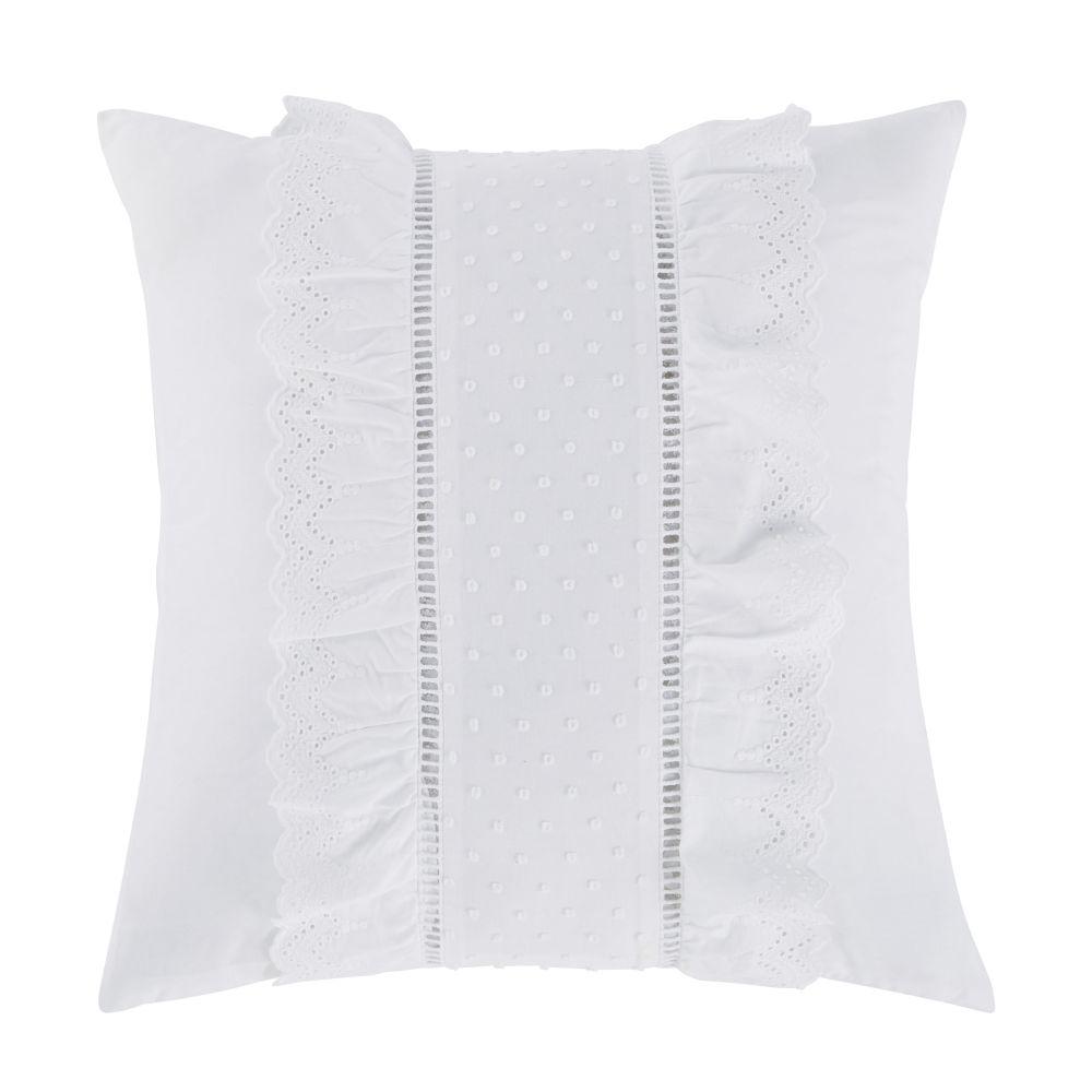 Coussin en coton blanc avec volants et plumetis 45x45