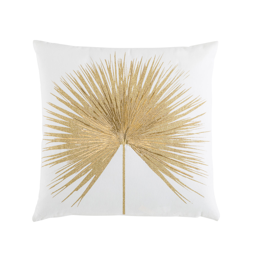 Coussin en coton blanc broderie dorée 45x45