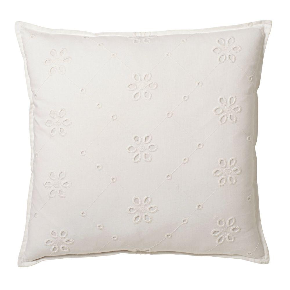 Coussin en coton blanc broderies anglaises 45x45