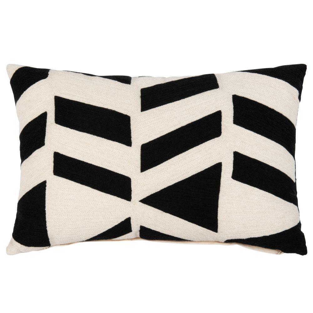 Coussin en coton blanc et motifs brodés noirs 40x60