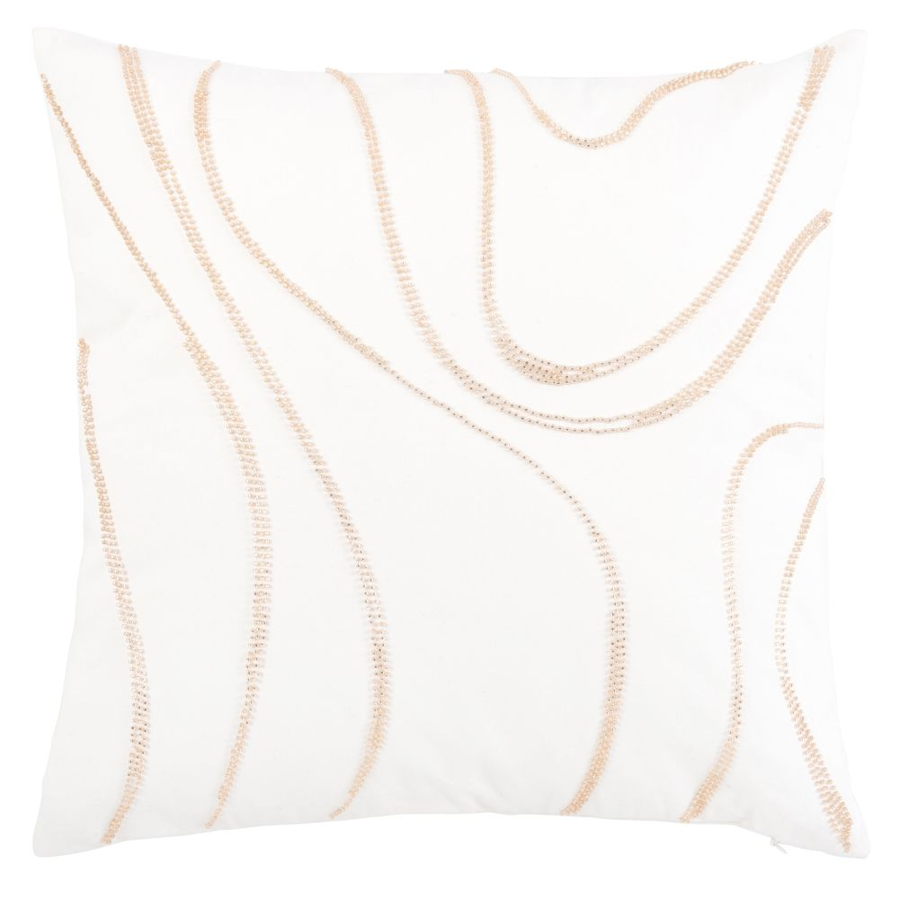 Coussin en coton blanc et perles dorées 45x45