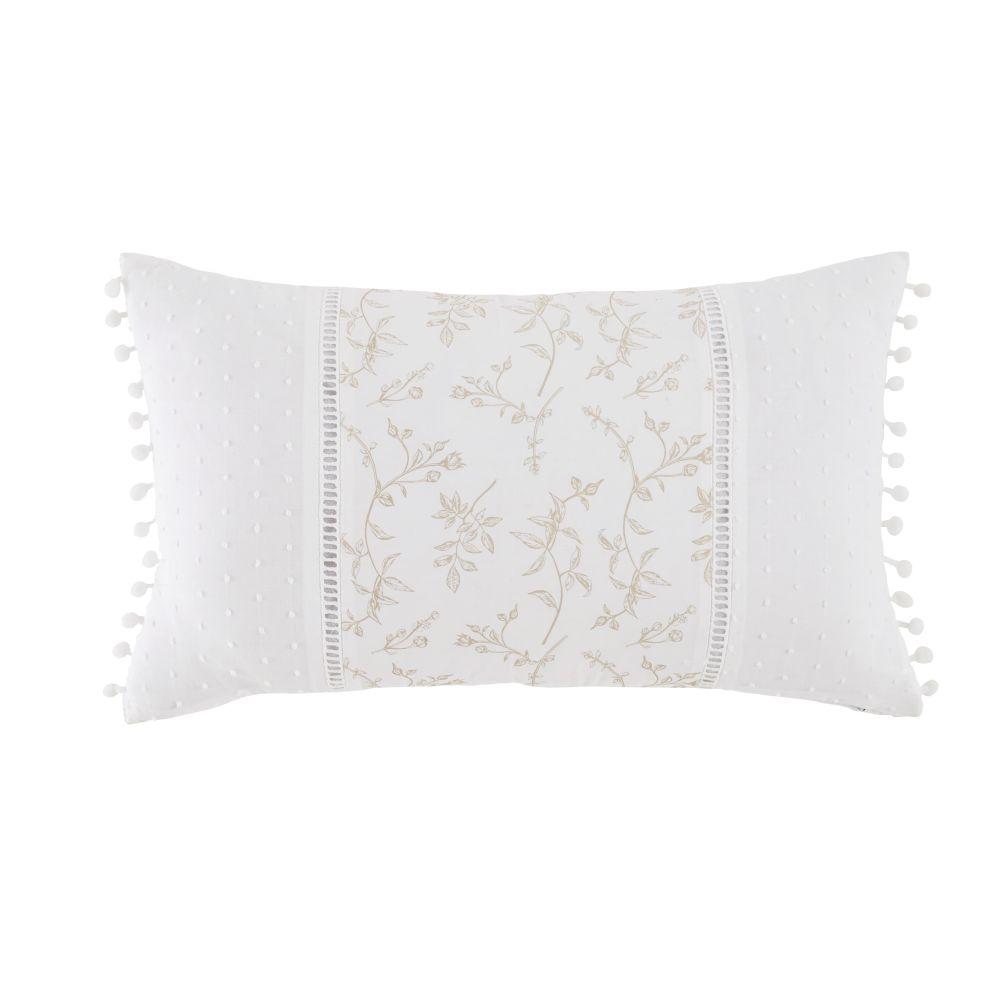 Coussin en coton blanc imprimé et pompons 30x50