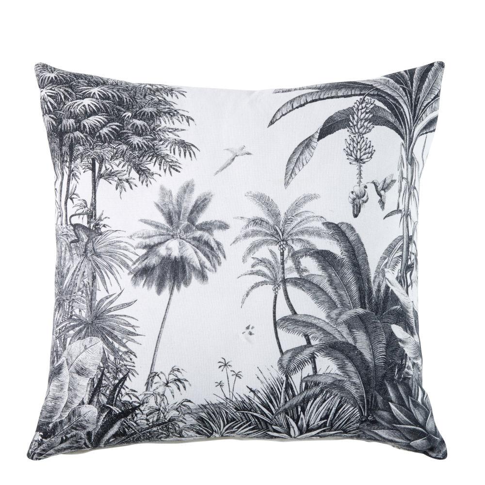 Coussin en coton blanc imprimé tropical 45x45