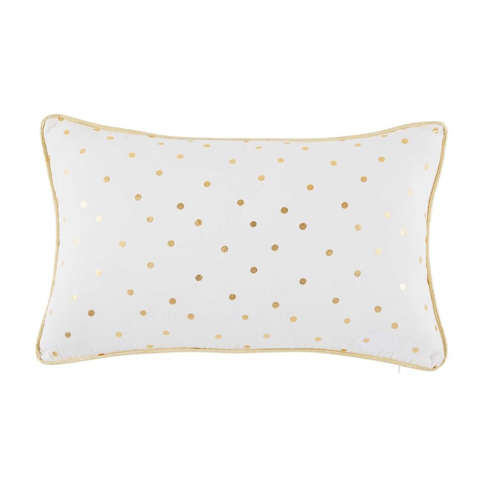 Coussin en coton blanc motifs à pois dorés 25x40