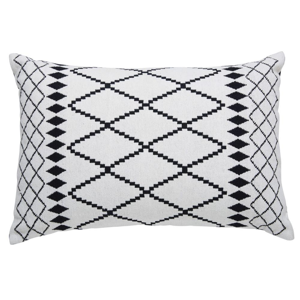 Coussin en coton blanc motifs noirs 40x60