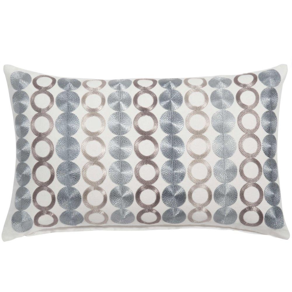 Coussin en coton bleu, blanc et gris à motifs 30x50