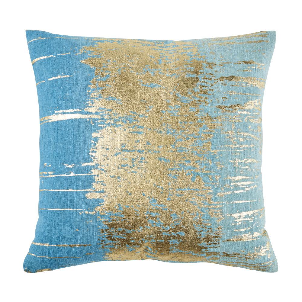 Coussin en coton bleu imprimé doré 45x45