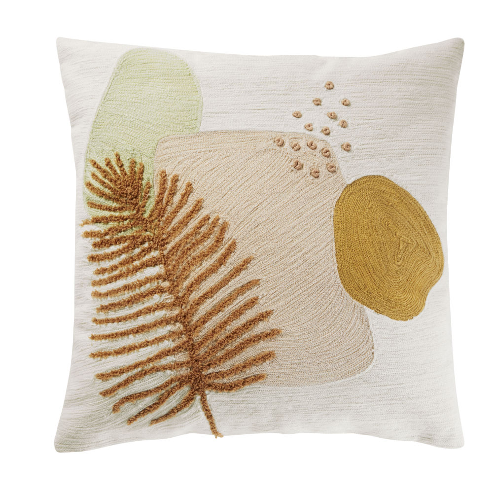Coussin en coton brodé blanc, rose, vert et jaune 45x45