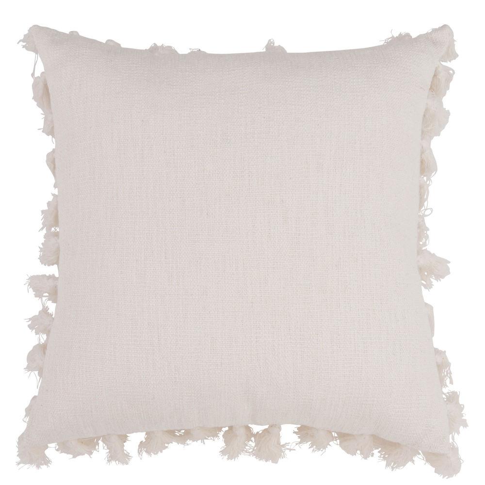 Coussin en coton écru à pompons 50x50