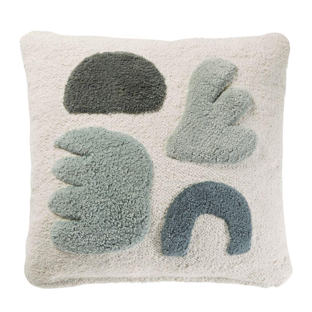 Coussin en coton écru avec formes tuftées vertes 45x45