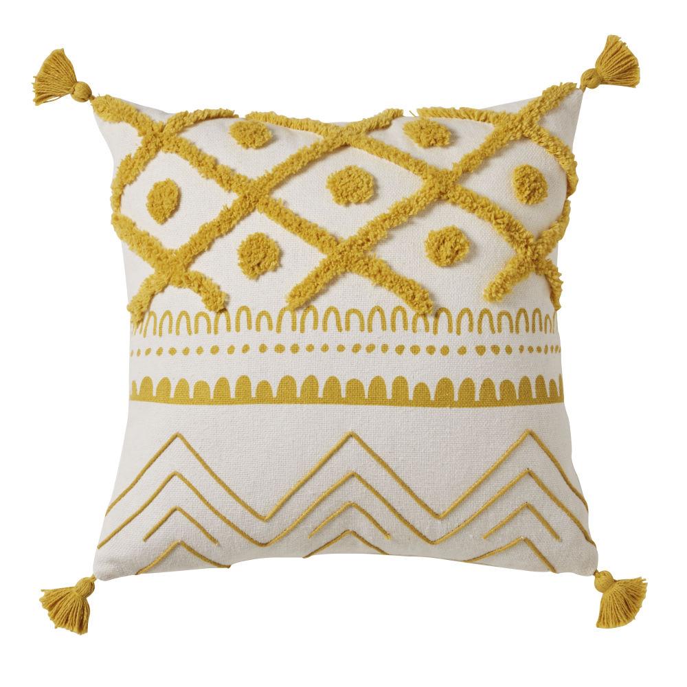 Coussin en coton écru motifs graphiques jaune moutarde à pompons 40x40